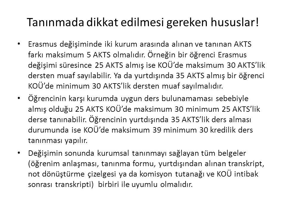 Tanınmada dikkat edilmesi gereken hususlar! Erasmus değişiminde iki kurum arasında alınan ve tanınan AKTS farkı maksimum 5 AKTS olmalıdır. Örneğin bir