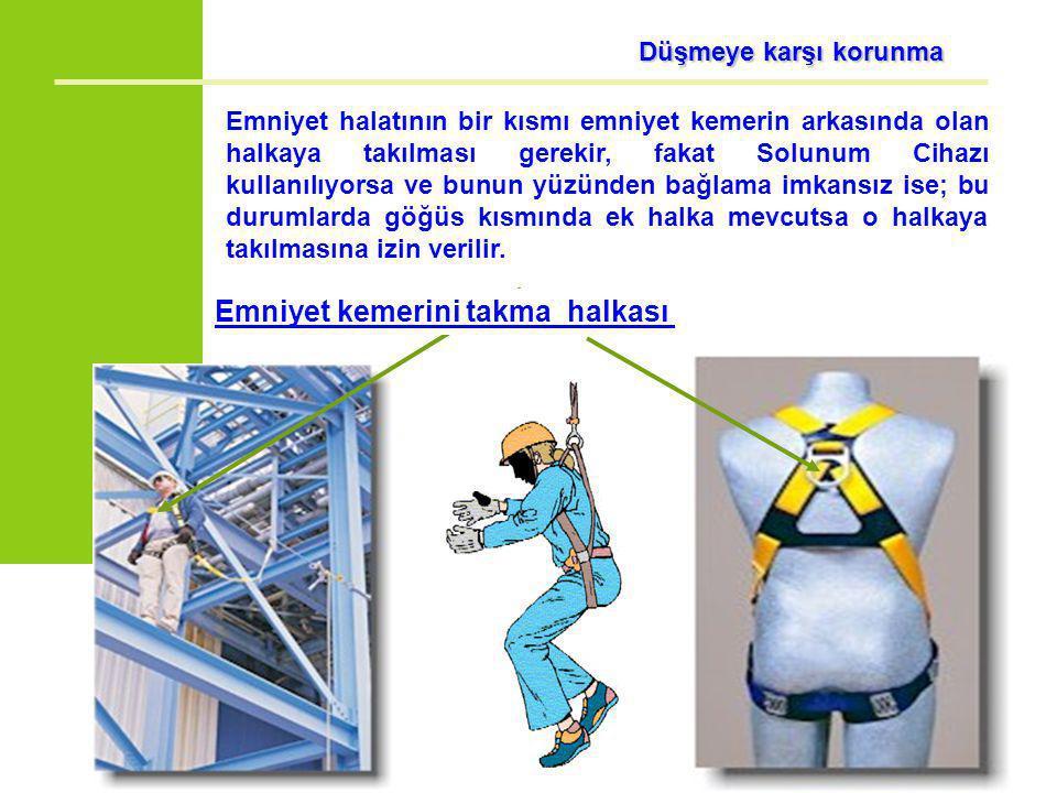 Düşmeye karşı korunma Emniyet halatının bir kısmı emniyet kemerin arkasında olan halkaya takılması gerekir, fakat Solunum Cihazı kullanılıyorsa ve bun