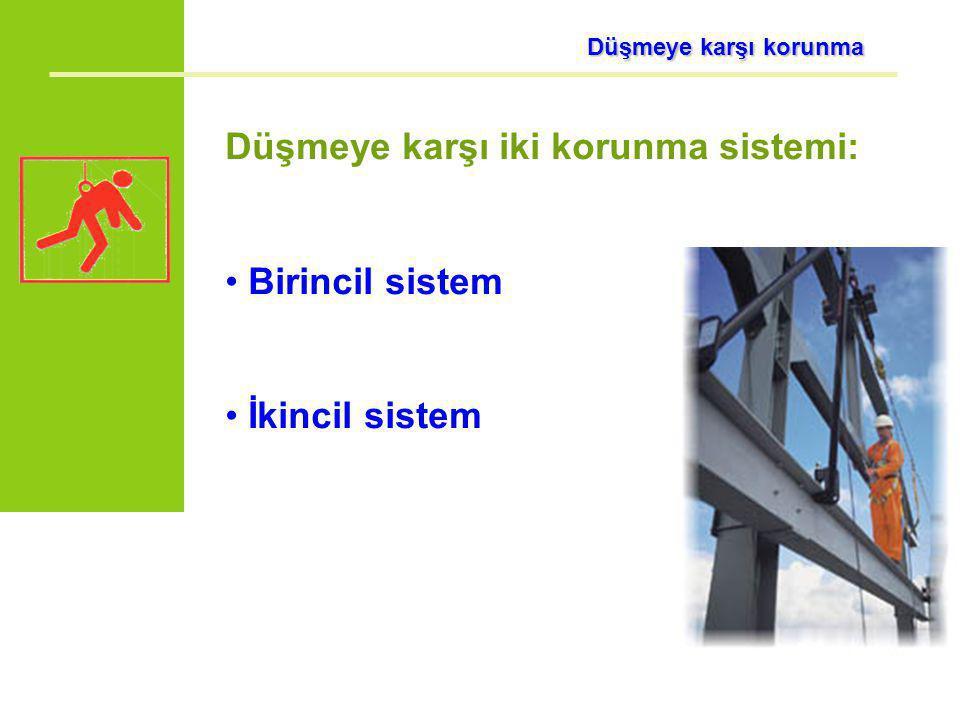 Düşmeye karşı korunma Düşmeye karşı korunma Düşmeye karşı iki korunma sistemi: Birincil sistem İkincil sistem