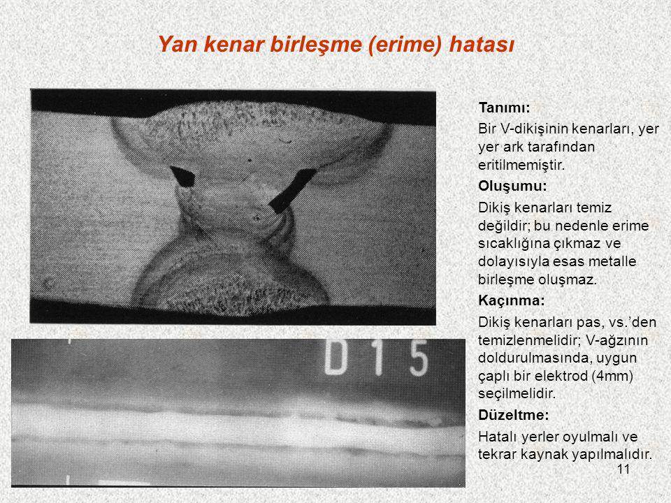 11 Yan kenar birleşme (erime) hatası Tanımı: Bir V-dikişinin kenarları, yer yer ark tarafından eritilmemiştir. Oluşumu: Dikiş kenarları temiz değildir