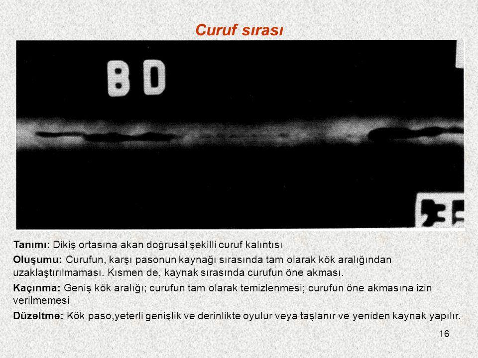 16 Curuf sırası Tanımı: Dikiş ortasına akan doğrusal şekilli curuf kalıntısı Oluşumu: Curufun, karşı pasonun kaynağı sırasında tam olarak kök aralığın