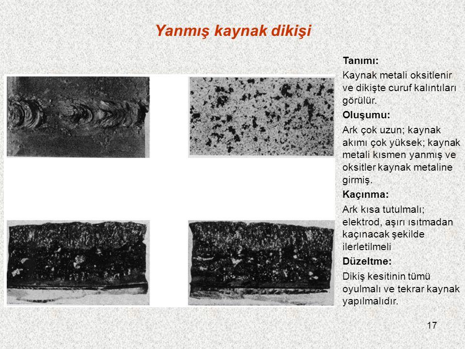 17 Yanmış kaynak dikişi Tanımı: Kaynak metali oksitlenir ve dikişte curuf kalıntıları görülür. Oluşumu: Ark çok uzun; kaynak akımı çok yüksek; kaynak