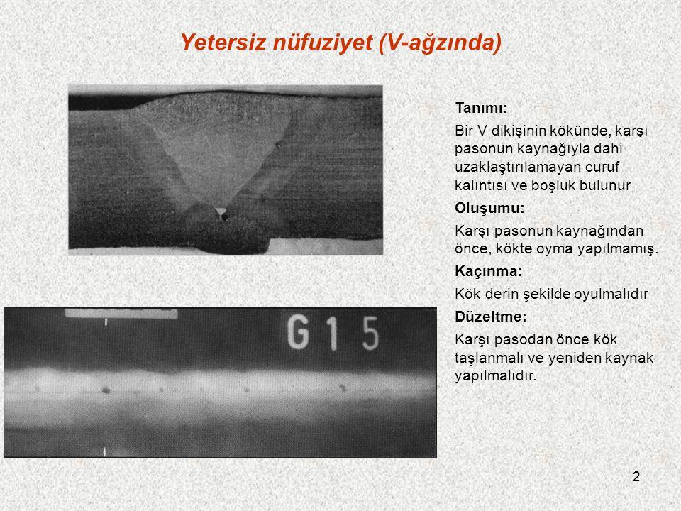 2 Yetersiz nüfuziyet (V-ağzında) Tanımı: Bir V dikişinin kökünde, karşı pasonun kaynağıyla dahi uzaklaştırılamayan curuf kalıntısı ve boşluk bulunur O