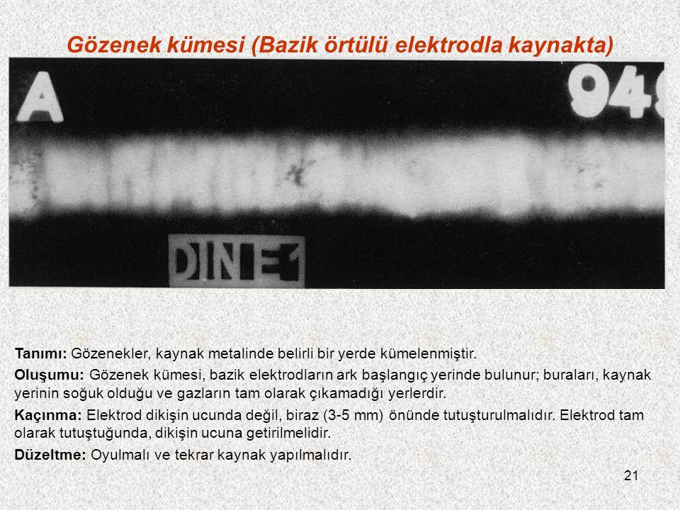 21 Gözenek kümesi (Bazik örtülü elektrodla kaynakta) Tanımı: Gözenekler, kaynak metalinde belirli bir yerde kümelenmiştir. Oluşumu: Gözenek kümesi, ba