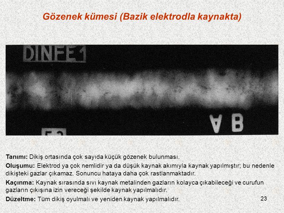 23 Gözenek kümesi (Bazik elektrodla kaynakta) Tanımı: Dikiş ortasında çok sayıda küçük gözenek bulunması. Oluşumu: Elektrod ya çok nemlidir ya da düşü