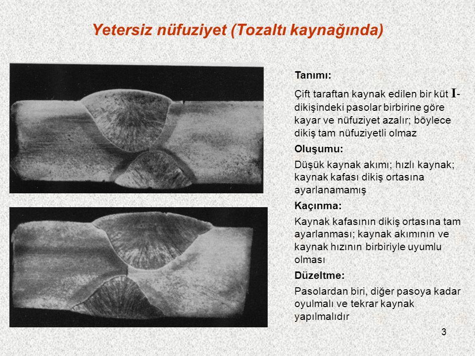 4 Yetersiz nüfuziyet (Tozaltı kaynağında) Tanımı: Çift taraftan kaynak yapılan bir I -dikişinde, nüfuziyet düşüktür; böylece her iki paso üstüste gelmez ve levha, orta kısmından kaynak yapılamaz Oluşumu: Levha kalınlığı, bir I -dikişi için çok fazladır Kaçınma: Yaklaşık 18 mm'den itibaren levha kenarları, tozaltı kaynağında da kaynak ağzı açılmalıdır.