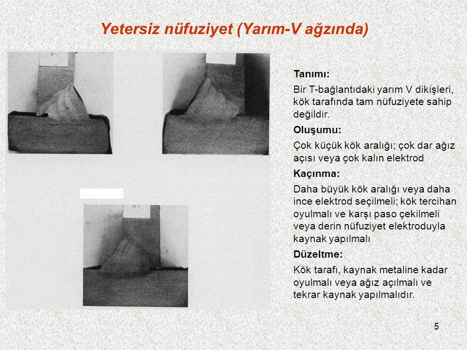 5 Yetersiz nüfuziyet (Yarım-V ağzında) Tanımı: Bir T-bağlantıdaki yarım V dikişleri, kök tarafında tam nüfuziyete sahip değildir.