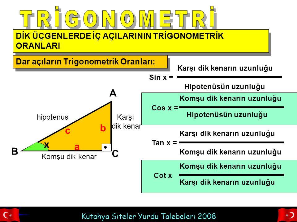 Kütahya Siteler Yurdu Talebeleri 2008 Dar açıların Trigonometrik Oranları: hipotenüs Komşu dik kenar Karşı dik kenar x A B C c b a Sin x = Karşı dik kenarın uzunluğu Hipotenüsün uzunluğu Cos x = Komşu dik kenarın uzunluğu Hipotenüsün uzunluğu c Tan x = Karşı dik kenarın uzunluğu Komşu dik kenarın uzunluğu a b a b c Cot x = Komşu dik kenarın uzunluğu Karşı dik kenarın uzunluğu b a