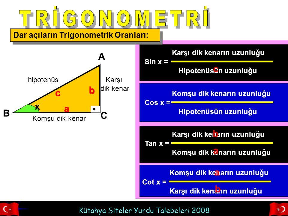 Kütahya Siteler Yurdu Talebeleri 2008 Dar açıların Trigonometrik Oranları: hipotenüs Komşu dik kenar Karşı dik kenar x A B C b a c Sin x = b c cos x = a c Tan x = b a Cot x = a b