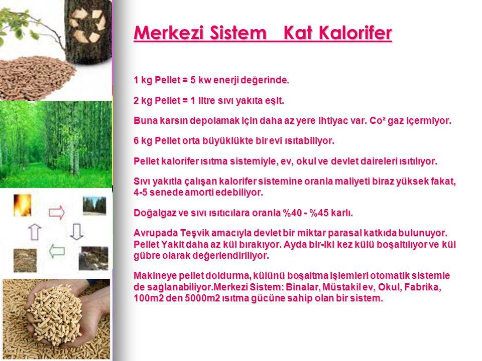 Merkezi Sistem Kat Kalorifer Merkezi Sistem Kat Kalorifer 1 kg Pellet = 5 kw enerji değerinde.