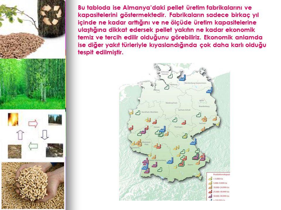 Bu tabloda ise Almanya'daki pellet üretim fabrikalarını ve kapasitelerini göstermektedir.