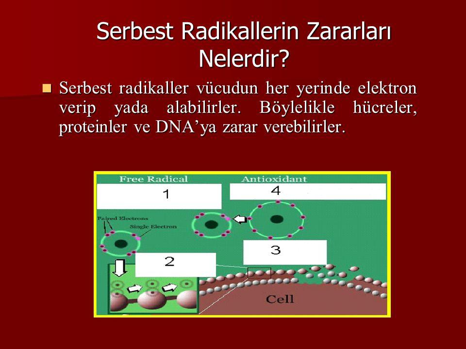 Serbest Radikallerin Zararları Nelerdir? Serbest radikaller vücudun her yerinde elektron verip yada alabilirler. Böylelikle hücreler, proteinler ve DN