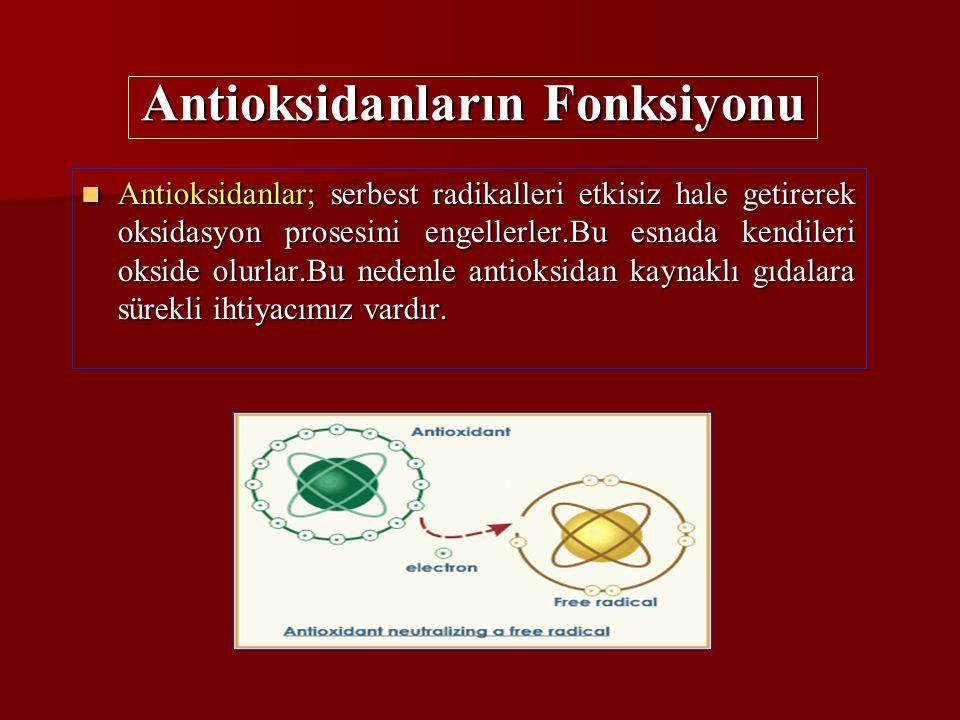 Antioksidanlar; serbest radikalleri etkisiz hale getirerek oksidasyon prosesini engellerler.Bu esnada kendileri okside olurlar.Bu nedenle antioksidan