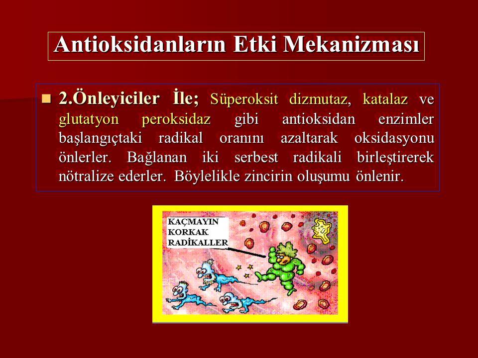 2.Önleyiciler İle; Süperoksit dizmutaz, katalaz ve glutatyon peroksidaz gibi antioksidan enzimler başlangıçtaki radikal oranını azaltarak oksidasyonu