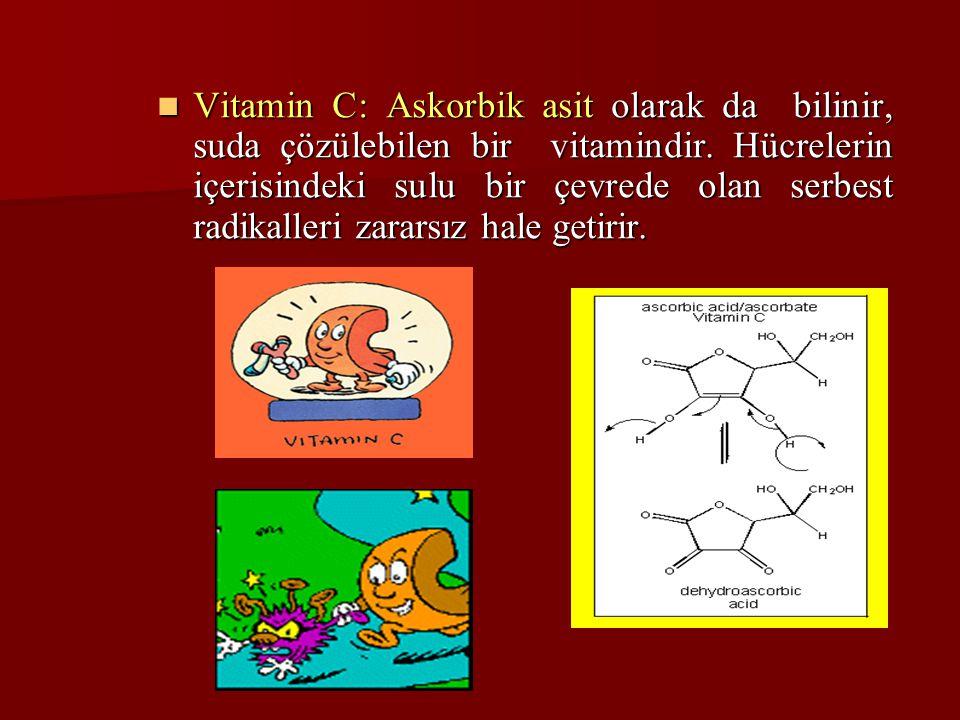Vitamin C: Askorbik asit olarak da bilinir, suda çözülebilen bir vitamindir. Hücrelerin içerisindeki sulu bir çevrede olan serbest radikalleri zararsı