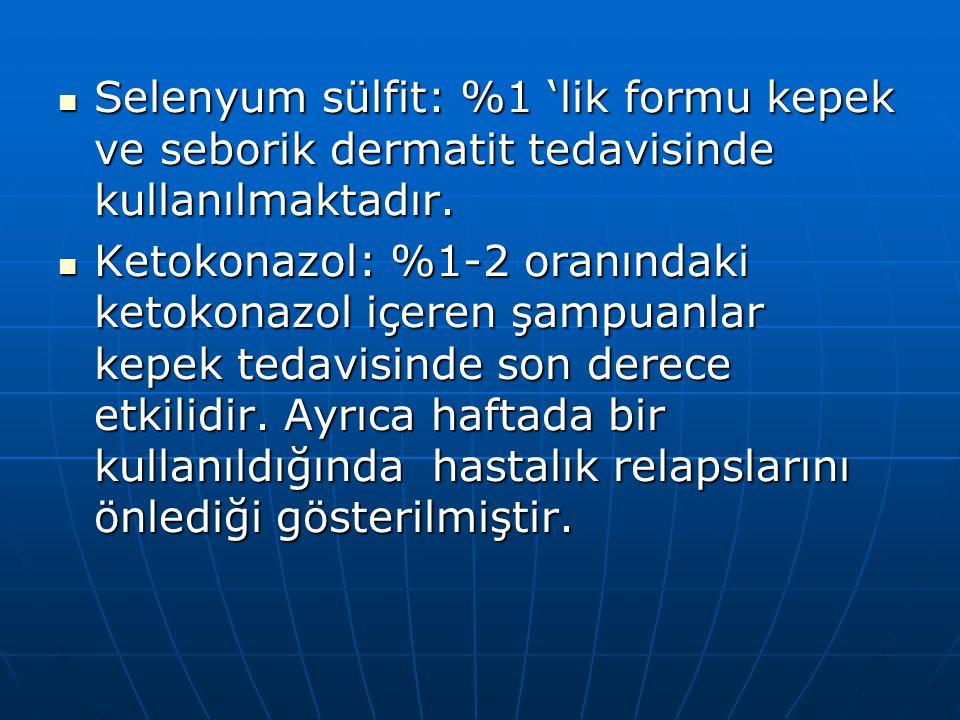 Selenyum sülfit: %1 'lik formu kepek ve seborik dermatit tedavisinde kullanılmaktadır. Selenyum sülfit: %1 'lik formu kepek ve seborik dermatit tedavi