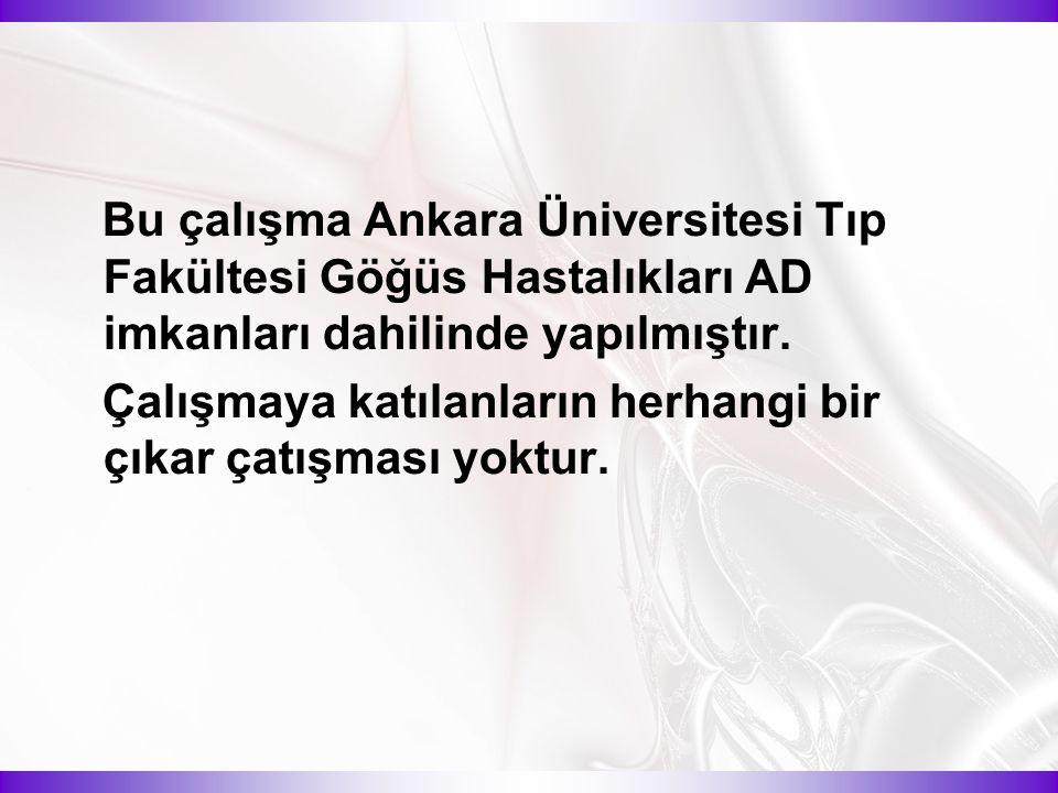 Bu çalışma Ankara Üniversitesi Tıp Fakültesi Göğüs Hastalıkları AD imkanları dahilinde yapılmıştır.