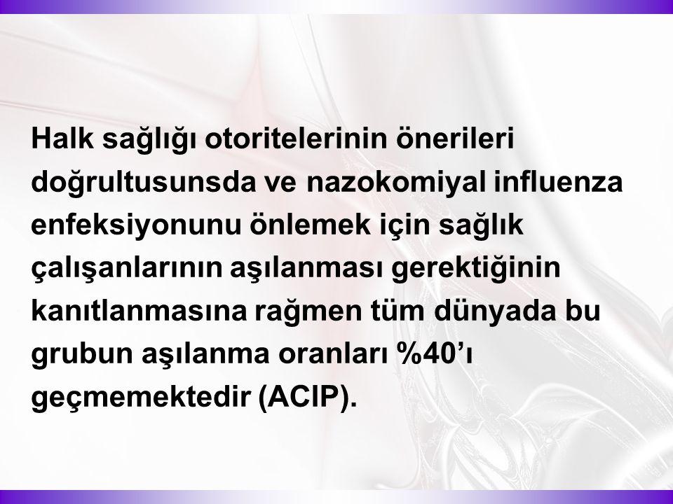 Halk sağlığı otoritelerinin önerileri doğrultusunsda ve nazokomiyal influenza enfeksiyonunu önlemek için sağlık çalışanlarının aşılanması gerektiğinin kanıtlanmasına rağmen tüm dünyada bu grubun aşılanma oranları %40'ı geçmemektedir (ACIP).