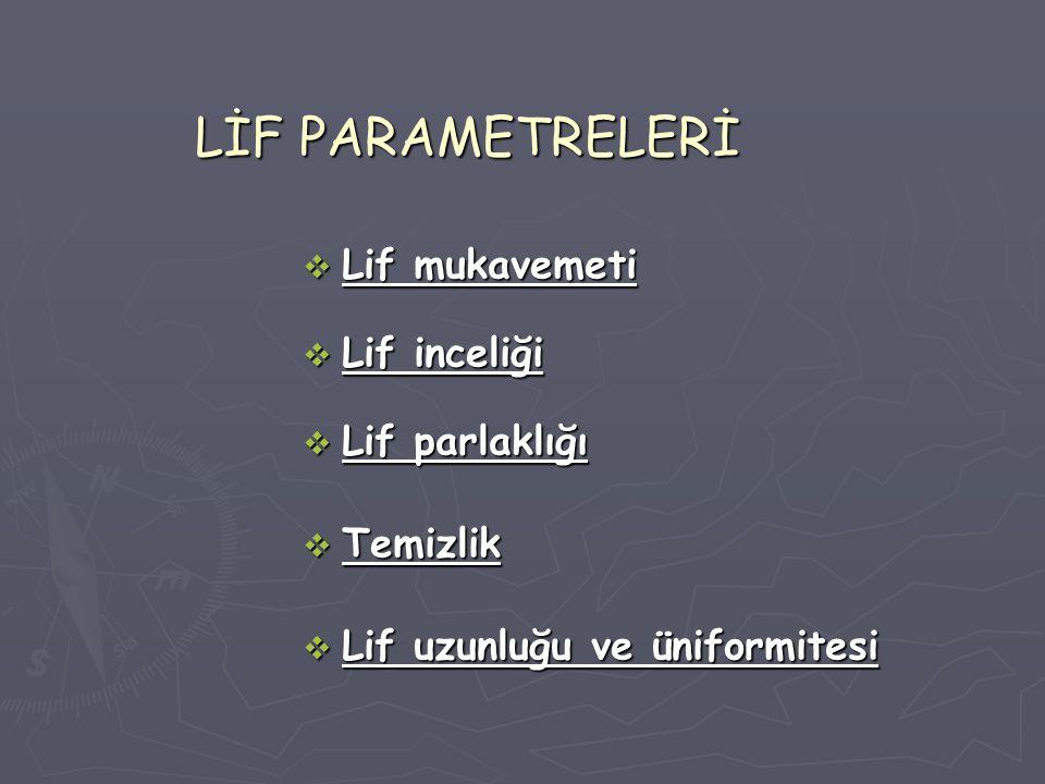 LİF PARAMETRELERİ  Lif mukavemeti  Lif inceliği  Lif parlaklığı  Temizlik  Lif uzunluğu ve üniformitesi