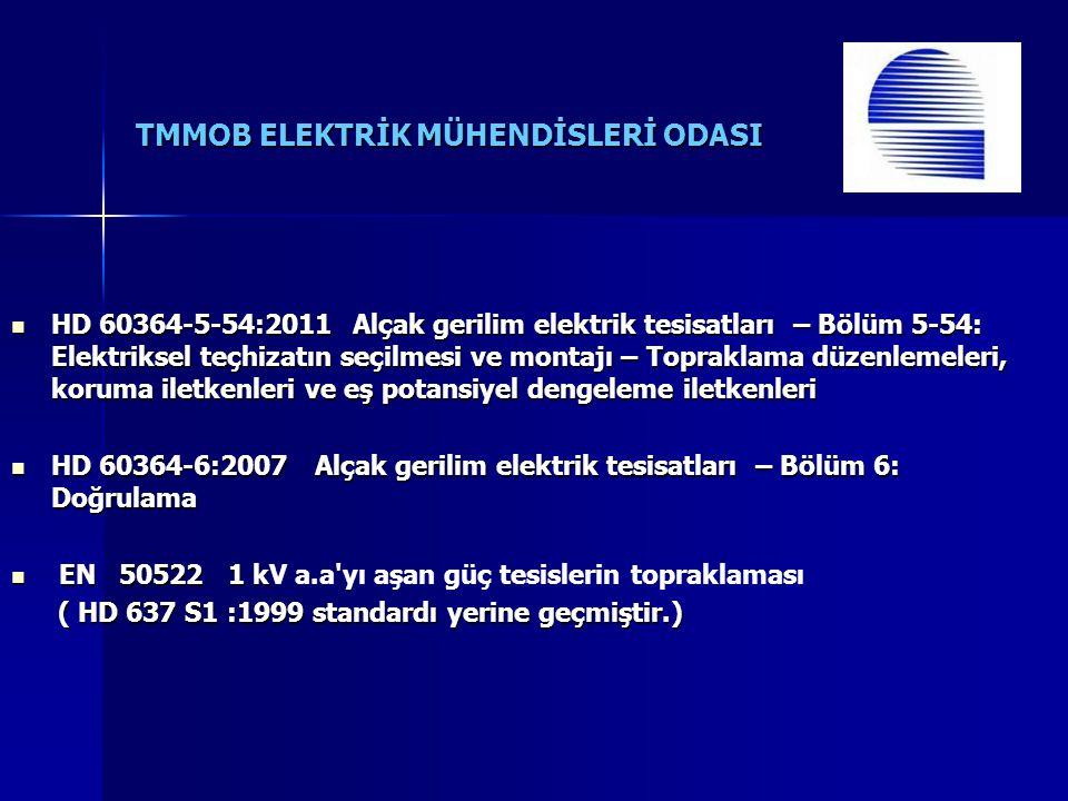 TMMOB ELEKTRİK MÜHENDİSLERİ ODASI HD 60364-5-54:2011 Alçak gerilim elektrik tesisatları – Bölüm 5-54: Elektriksel teçhizatın seçilmesi ve montajı – Topraklama düzenlemeleri, koruma iletkenleri ve eş potansiyel dengeleme iletkenleri HD 60364-5-54:2011 Alçak gerilim elektrik tesisatları – Bölüm 5-54: Elektriksel teçhizatın seçilmesi ve montajı – Topraklama düzenlemeleri, koruma iletkenleri ve eş potansiyel dengeleme iletkenleri HD 60364-6:2007 Alçak gerilim elektrik tesisatları – Bölüm 6: Doğrulama HD 60364-6:2007 Alçak gerilim elektrik tesisatları – Bölüm 6: Doğrulama EN 50522 1 k EN 50522 1 kV a.a yı aşan güç tesislerin topraklaması ( HD 637 S1 :1999 standardı yerine geçmiştir.) ( HD 637 S1 :1999 standardı yerine geçmiştir.)
