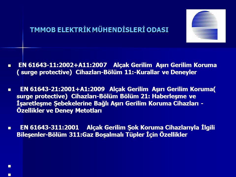TMMOB ELEKTRİK MÜHENDİSLERİ ODASI EN 61643-11:2002+A11:2007 Alçak Gerilim Aşırı Gerilim Koruma ( surge protective) Cihazları-Bölüm 11:-Kurallar ve Deneyler EN 61643-21:2001+A1:2009 Alçak Gerilim Aşırı Gerilim Koruma( surge protective) Cihazları-Bölüm Bölüm 21: Haberleşme ve İşaretleşme Şebekelerine Bağlı Aşırı Gerilim Koruma Cihazları - Özellikler ve Deney Metotları EN 61643-311:2001 Alçak Gerilim Şok Koruma Cihazlarıyla İlgili Bileşenler-Bölüm 311:Gaz Boşalmalı Tüpler İçin Özellikler
