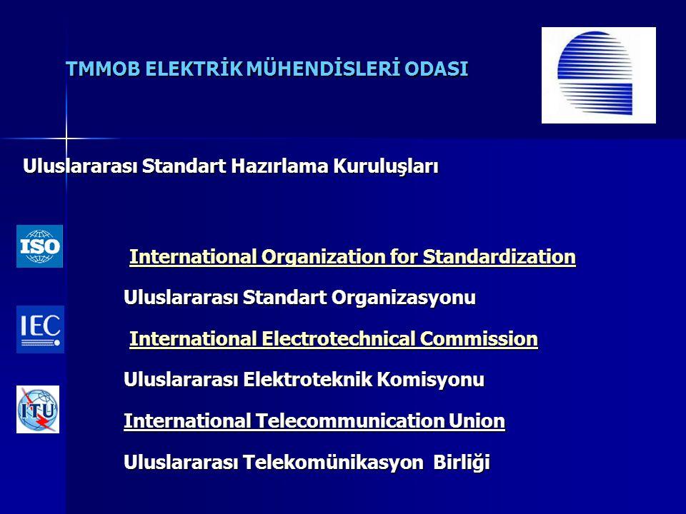 TMMOB ELEKTRİK MÜHENDİSLERİ ODASI Uluslararası Standart Hazırlama Kuruluşları International Organization for Standardization International Organizatio