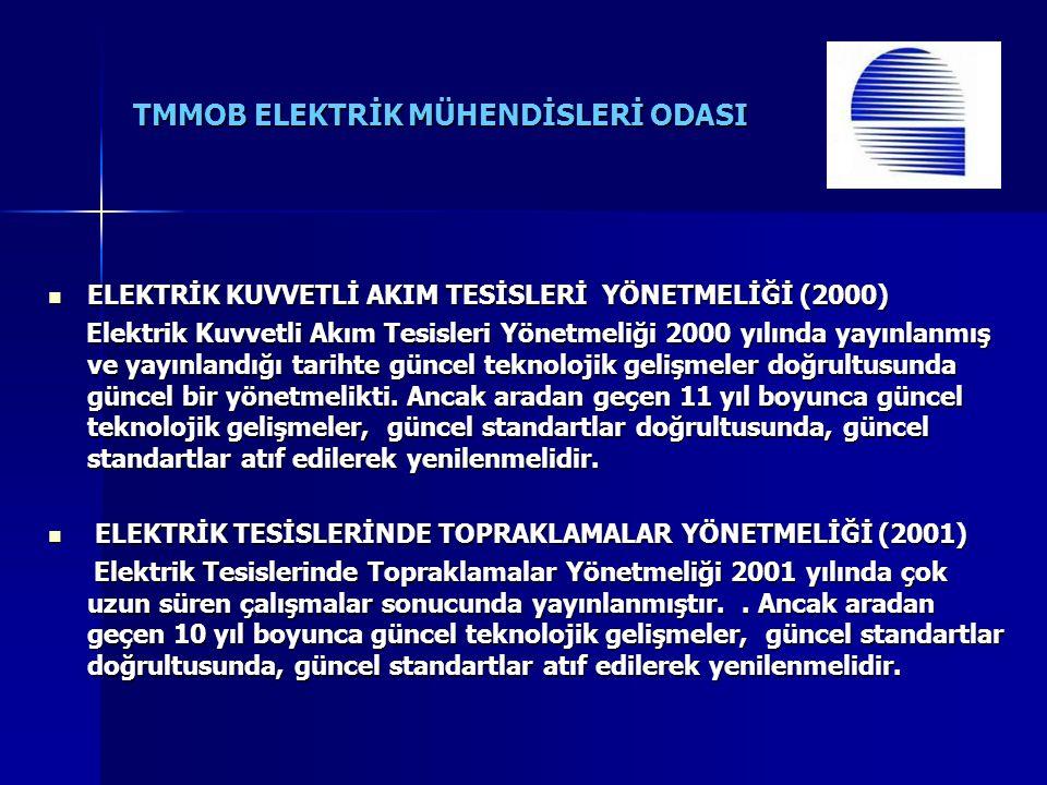 TMMOB ELEKTRİK MÜHENDİSLERİ ODASI ELEKTRİK KUVVETLİ AKIM TESİSLERİ YÖNETMELİĞİ (2000) ELEKTRİK KUVVETLİ AKIM TESİSLERİ YÖNETMELİĞİ (2000) Elektrik Kuv
