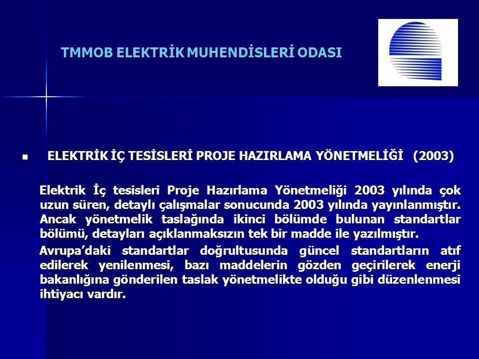TMMOB ELEKTRİK MUHENDİSLERİ ODASI ELEKTRİK İÇ TESİSLERİ PROJE HAZIRLAMA YÖNETMELİĞİ (2003) ELEKTRİK İÇ TESİSLERİ PROJE HAZIRLAMA YÖNETMELİĞİ (2003) El