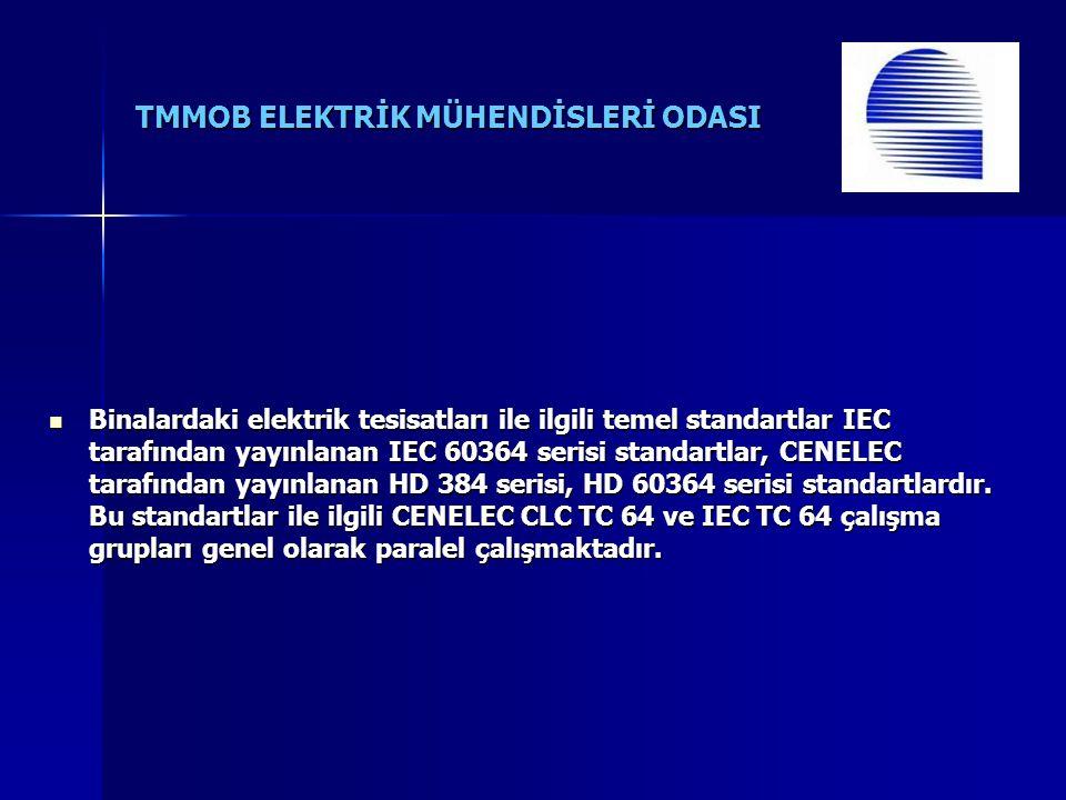 TMMOB ELEKTRİK MÜHENDİSLERİ ODASI Binalardaki elektrik tesisatları ile ilgili temel standartlar IEC tarafından yayınlanan IEC 60364 serisi standartlar, CENELEC tarafından yayınlanan HD 384 serisi, HD 60364 serisi standartlardır.