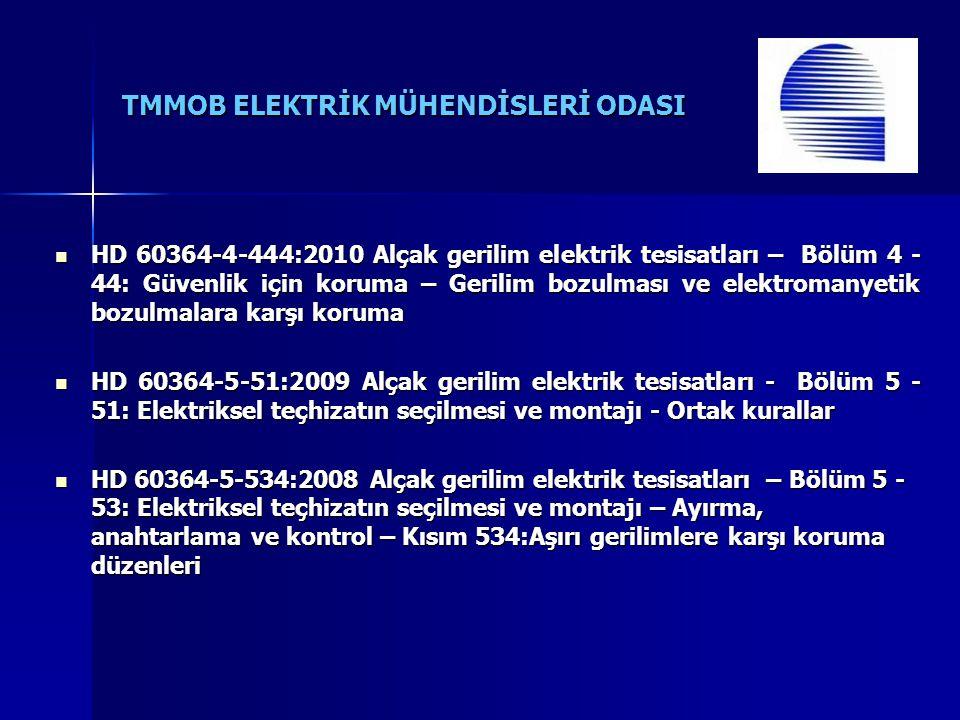 TMMOB ELEKTRİK MÜHENDİSLERİ ODASI HD 60364-4-444:2010 Alçak gerilim elektrik tesisatları – Bölüm 4 - 44: Güvenlik için koruma – Gerilim bozulması ve elektromanyetik bozulmalara karşı koruma HD 60364-4-444:2010 Alçak gerilim elektrik tesisatları – Bölüm 4 - 44: Güvenlik için koruma – Gerilim bozulması ve elektromanyetik bozulmalara karşı koruma HD 60364-5-51:2009 Alçak gerilim elektrik tesisatları - Bölüm 5 - 51: Elektriksel teçhizatın seçilmesi ve montajı - Ortak kurallar HD 60364-5-51:2009 Alçak gerilim elektrik tesisatları - Bölüm 5 - 51: Elektriksel teçhizatın seçilmesi ve montajı - Ortak kurallar HD 60364-5-534:2008 Alçak gerilim elektrik tesisatları – Bölüm 5 - 53: Elektriksel teçhizatın seçilmesi ve montajı – Ayırma, anahtarlama ve kontrol – Kısım 534:Aşırı gerilimlere karşı koruma düzenleri HD 60364-5-534:2008 Alçak gerilim elektrik tesisatları – Bölüm 5 - 53: Elektriksel teçhizatın seçilmesi ve montajı – Ayırma, anahtarlama ve kontrol – Kısım 534:Aşırı gerilimlere karşı koruma düzenleri