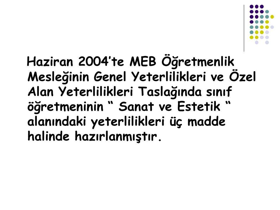 """Haziran 2004'te MEB Öğretmenlik Mesleğinin Genel Yeterlilikleri ve Özel Alan Yeterlilikleri Taslağında sınıf öğretmeninin """" Sanat ve Estetik """" alanınd"""