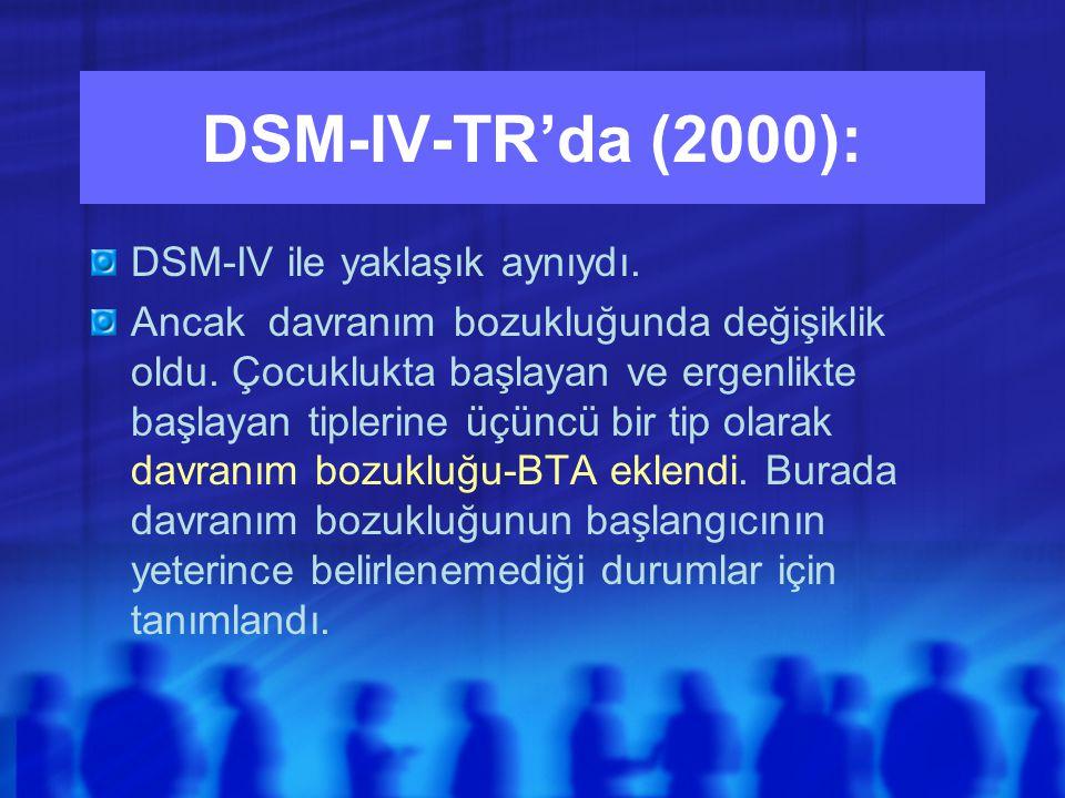DSM-IV-TR'da (2000): DSM-IV ile yaklaşık aynıydı.Ancak davranım bozukluğunda değişiklik oldu.