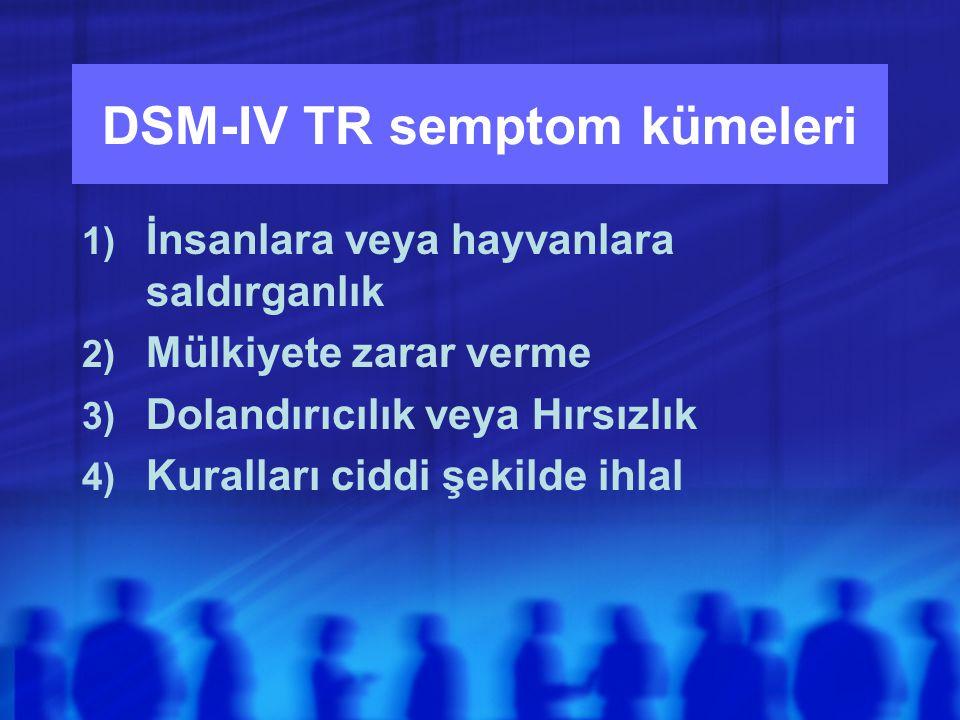 DSM-IV TR semptom kümeleri 1) İnsanlara veya hayvanlara saldırganlık 2) Mülkiyete zarar verme 3) Dolandırıcılık veya Hırsızlık 4) Kuralları ciddi şekilde ihlal