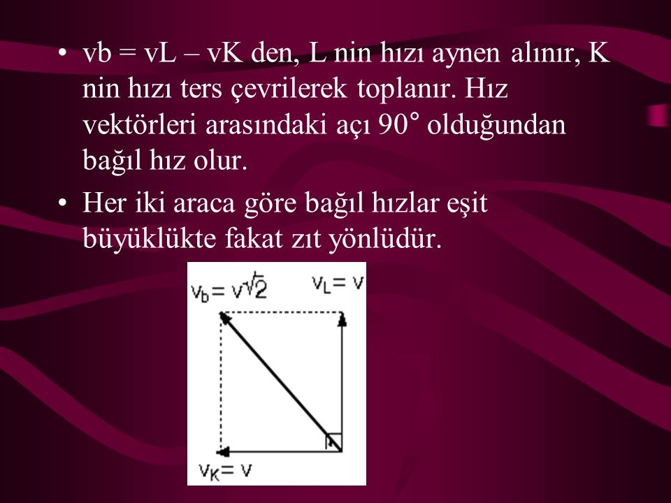 vb = vL – vK den, L nin hızı aynen alınır, K nin hızı ters çevrilerek toplanır. Hız vektörleri arasındaki açı 90° olduğundan bağıl hız olur. Her iki a