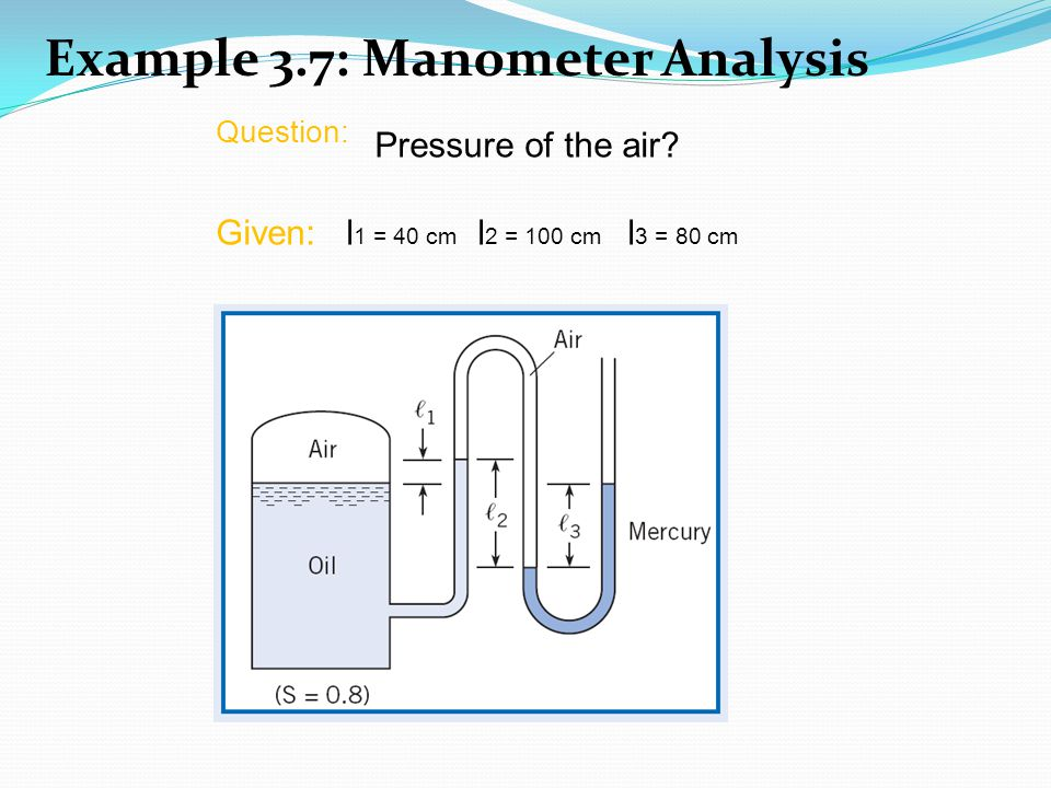Example 3.7: Manometer Analysis Question: Pressure of the air? Given: l 1 = 40 cm l 2 = 100 cm l 3 = 80 cm