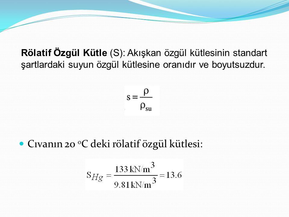 Cıvanın 20 o C deki rölatif özgül kütlesi: Rölatif Özgül Kütle (S): Akışkan özgül kütlesinin standart şartlardaki suyun özgül kütlesine oranıdır ve boyutsuzdur.