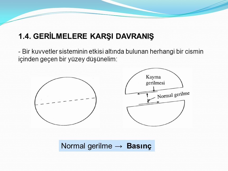 1.4. GERİLMELERE KARŞI DAVRANIŞ - Bir kuvvetler sisteminin etkisi altında bulunan herhangi bir cismin içinden geçen bir yüzey düşünelim: Normal gerilm