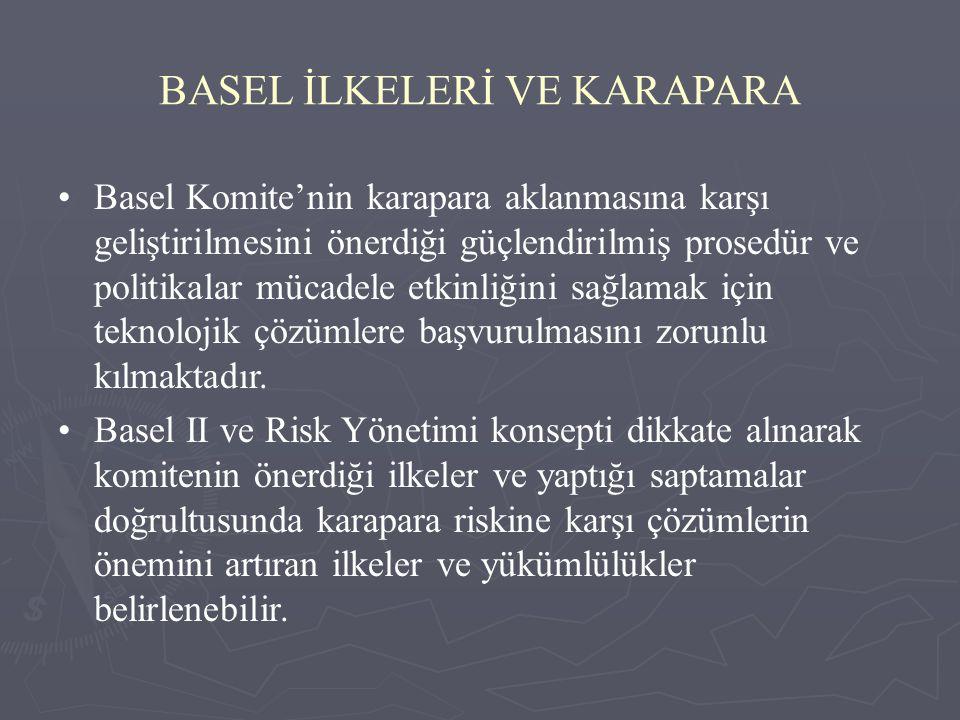BASEL İLKELERİ VE KARAPARA Basel Komite'nin karapara aklanmasına karşı geliştirilmesini önerdiği güçlendirilmiş prosedür ve politikalar mücadele etkin