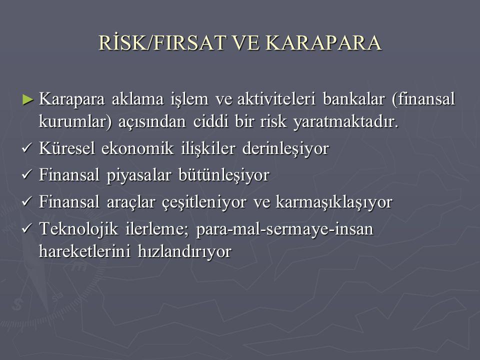 RİSK/FIRSAT VE KARAPARA ► Karapara aklama işlem ve aktiviteleri bankalar (finansal kurumlar) açısından ciddi bir risk yaratmaktadır. Küresel ekonomik