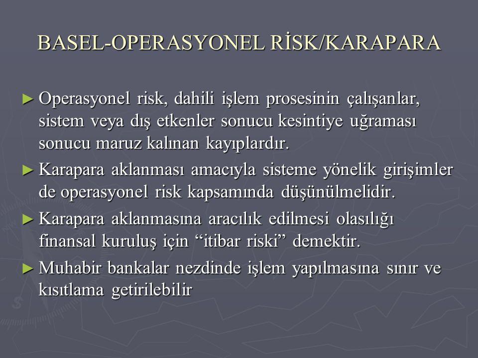 BASEL-OPERASYONEL RİSK/KARAPARA ► Operasyonel risk, dahili işlem prosesinin çalışanlar, sistem veya dış etkenler sonucu kesintiye uğraması sonucu maru