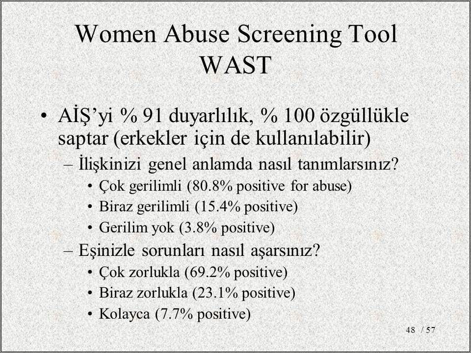 / 5748 Women Abuse Screening Tool WAST AİŞ'yi % 91 duyarlılık, % 100 özgüllükle saptar (erkekler için de kullanılabilir) –İlişkinizi genel anlamda nasıl tanımlarsınız.