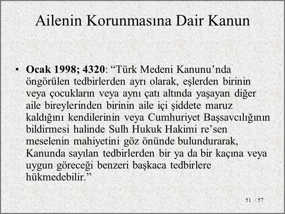/ 5751 Ailenin Korunmasına Dair Kanun Ocak 1998; 4320: Türk Medeni Kanunu'nda öngörülen tedbirlerden ayrı olarak, eşlerden birinin veya çocukların veya aynı çatı altında yaşayan diğer aile bireylerinden birinin aile içi şiddete maruz kaldığını kendilerinin veya Cumhuriyet Başsavcılığının bildirmesi halinde Sulh Hukuk Hakimi re'sen meselenin mahiyetini göz önünde bulundurarak, Kanunda sayılan tedbirlerden bir ya da bir kaçına veya uygun göreceği benzeri başkaca tedbirlere hükmedebilir.