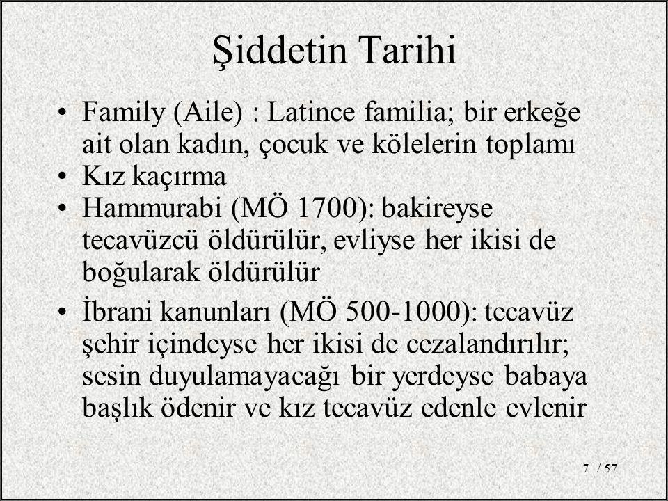 / 577 Şiddetin Tarihi Family (Aile) : Latince familia; bir erkeğe ait olan kadın, çocuk ve kölelerin toplamı Kız kaçırma Hammurabi (MÖ 1700): bakireyse tecavüzcü öldürülür, evliyse her ikisi de boğularak öldürülür İbrani kanunları (MÖ 500-1000): tecavüz şehir içindeyse her ikisi de cezalandırılır; sesin duyulamayacağı bir yerdeyse babaya başlık ödenir ve kız tecavüz edenle evlenir