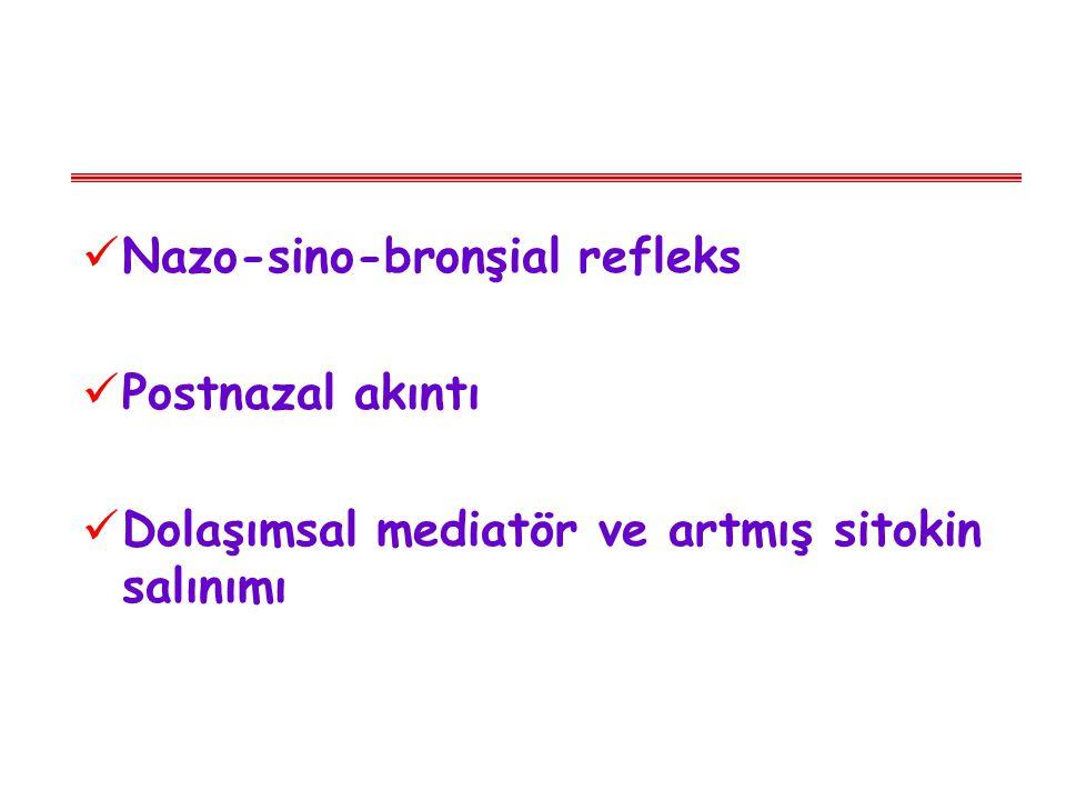 Nazo-sino-bronşial refleks Postnazal akıntı Dolaşımsal mediatör ve artmış sitokin salınımı