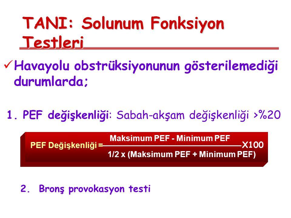 TANI: Solunum Fonksiyon Testleri Havayolu obstrüksiyonunun gösterilemediği durumlarda; 1. PEF değişkenliği: Sabah-akşam değişkenliği >%20 2. Bronş pro