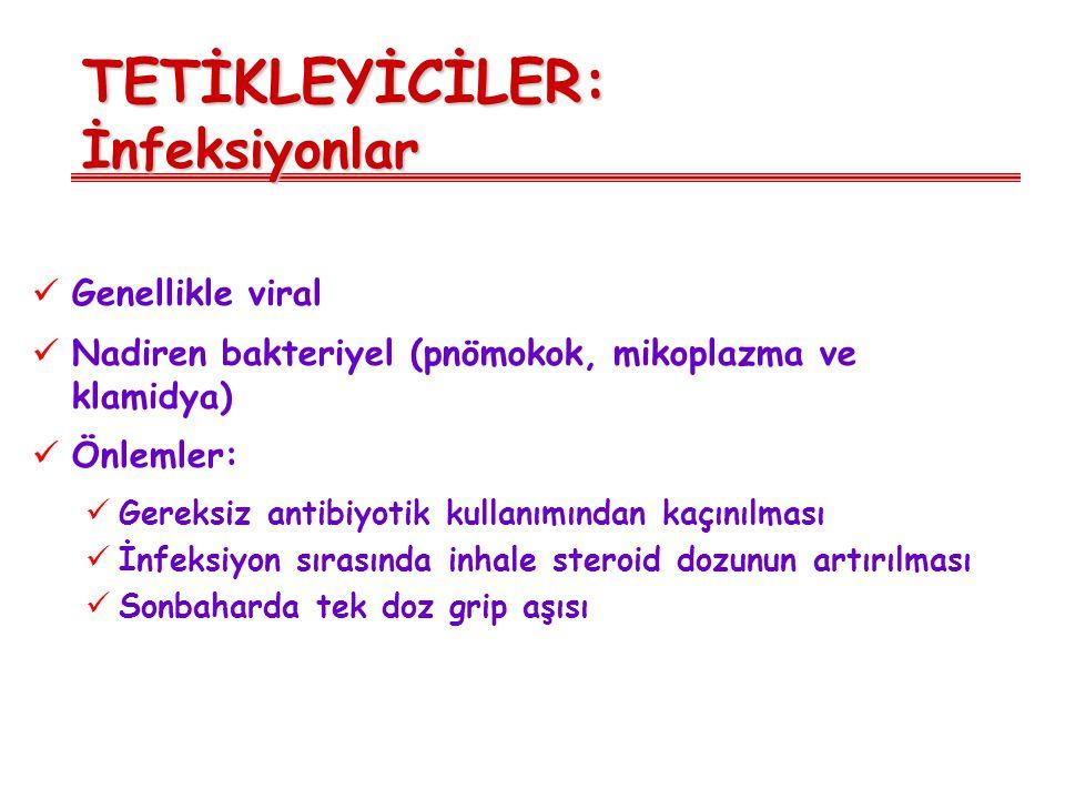 TETİKLEYİCİLER: İnfeksiyonlar Genellikle viral Nadiren bakteriyel (pnömokok, mikoplazma ve klamidya) Önlemler: Gereksiz antibiyotik kullanımından kaçı