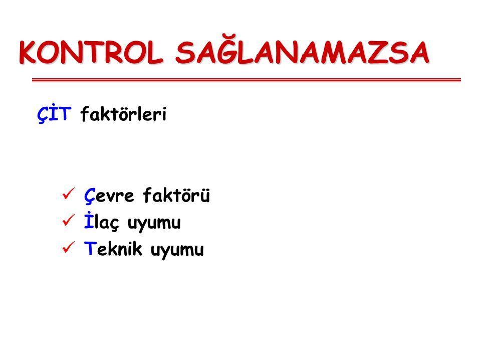 Kontrol Kavramı ÖzelliklerTam Kontrol (hepsi olmalı) Kısmi Kontrol (herhangi biri/hafta) Kontrolsüz Gün içi semptomYok (0-2/hafta) Haftada 2'den fazla Gece uyanmaYokHerhangi bir Aktivite kısıtlaması YokHerhangi bir Rahatlatıcı gereksinimi Yok (0-2/hafta) Haftada 2'den fazla FEV1 - PEFNormal< %80 veya kendi en iyisi AlevlenmeYok1 veya fazla/yıl Bir haftada kısmi kontroldeki astımın 3 veya daha fazla özelliğinin bulunması