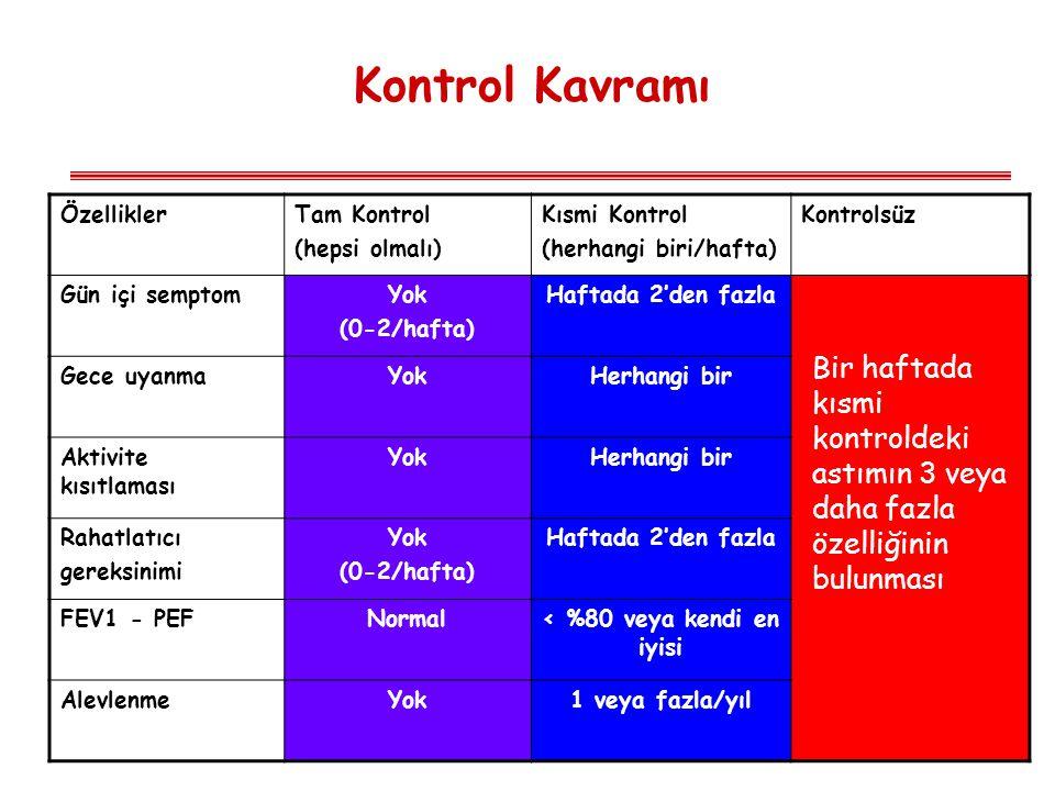 Kontrol Kavramı ÖzelliklerTam Kontrol (hepsi olmalı) Kısmi Kontrol (herhangi biri/hafta) Kontrolsüz Gün içi semptomYok (0-2/hafta) Haftada 2'den fazla