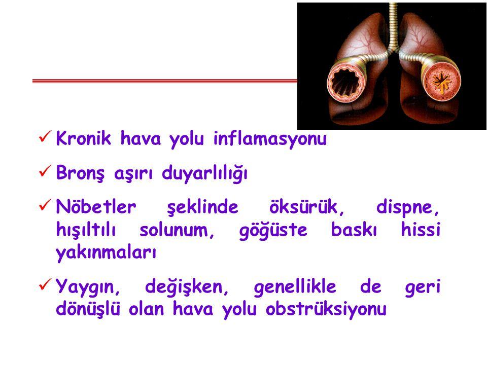 Kronik hava yolu inflamasyonu Bronş aşırı duyarlılığı Nöbetler şeklinde öksürük, dispne, hışıltılı solunum, göğüste baskı hissi yakınmaları Yaygın, de
