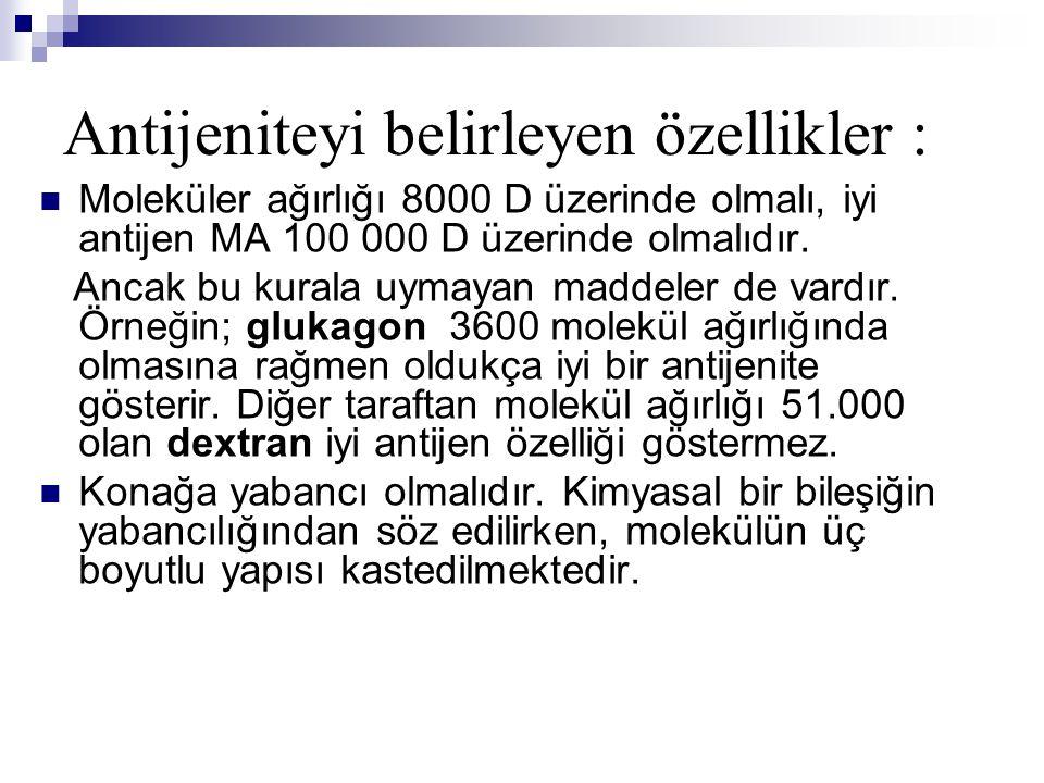 Moleküler ağırlığı 8000 D üzerinde olmalı, iyi antijen MA 100 000 D üzerinde olmalıdır.
